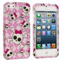 Apple iPhone 5/5S/SE Cute Skulls Hard Rubberized Design Case Cover Angle 1