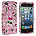 Apple iPhone 5/5S/SE Cute Skulls Hard Rubberized Design Case Cover Angle 2