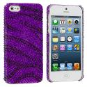 Apple iPhone 5/5S/SE Black / Purple Zebra Bling Rhinestone Case Cover Angle 1