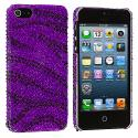 Apple iPhone 5/5S/SE Black / Purple Zebra Bling Rhinestone Case Cover Angle 2