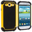 Samsung Galaxy S3 Yellow Hybrid Rugged Hard/Soft Case Cover Angle 1