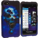 BlackBerry Z10 Blue Skulls Hard Rubberized Design Case Cover Angle 1