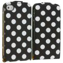 Apple iPhone 4 / 4S Polka Dot Black Wallet Pouch Case Cover Angle 1