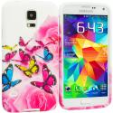Samsung Galaxy S5 Pink Colorful Butterfly TPU Design Soft Case Cover Angle 1