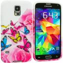 Samsung Galaxy S5 Pink Colorful Butterfly TPU Design Soft Case Cover Angle 2
