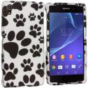 Sony Xperia Z2 Dog Paw 2D Hard Rubberized Design Case Cover Angle 1