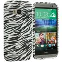 HTC One M8 Black White Zebra TPU Design Soft Case Cover Angle 1