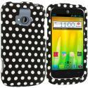 ZTE Radiant Black / White Polka Dot Hard Rubberized Design Case Cover Angle 1