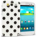 Samsung Galaxy S3 White / Black Polka Dot Crystal Hard Back Cover Case Angle 1