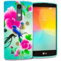LG Escape 2 Logos Spirit LTE Blue Bird Pink Flower TPU Design Soft Rubber Case Cover Angle 1