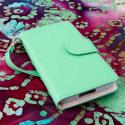 LG Optimus F7 US780 - Mint / White MPERO FLEX FLIP Wallet Case Cover Angle 2