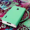 LG Optimus F7 US780 - Mint / White MPERO FLEX FLIP Wallet Case Cover Angle 3