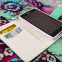 LG Optimus F7 US780 - Mint / White MPERO FLEX FLIP Wallet Case Cover Angle 4