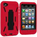 Apple iPod Touch 4th Generation Red / Black Hybrid Heavy Duty Hard/Soft Case Cover with Stand Angle 3
