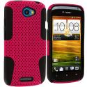 HTC One S Black / Hot Pink Hybrid Mesh Hard/Soft Case Cover Angle 1