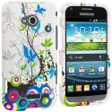 Samsung Galaxy Victory 4G Blue Autumn Flower Hard Rubberized Design Case Cover Angle 1