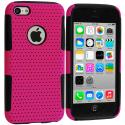 Apple iPhone 5C Black / Hot Pink Hybrid Mesh Hard/Soft Case Cover Angle 1