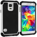 Samsung Galaxy S5 Black / White Hybrid Rugged Hard/Soft Case Cover Angle 1