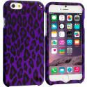Apple iPhone 6 6S (4.7) Purple Black Leopard Hard Rubberized Design Case Cover Angle 1