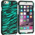 Apple iPhone 6 Plus 6S Plus (5.5) Black/Baby Blue Zebra 2D Hard Rubberized Design Case Cover Angle 1