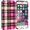 Apple iPhone 6 Plus 6S Plus (5.5) Hot Pink Checkered TPU Design Soft Rubber Case Cover Angle 1