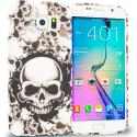 Samsung Galaxy S6 Black White Skulls TPU Design Soft Rubber Case Cover Angle 1