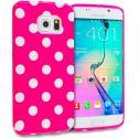 Samsung Galaxy S6 Edge Hot Pink / White TPU Polka Dot Skin Case Cover Angle 1