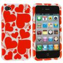 Apple iPhone 4 / 4S Hearts with Shapes Design Crystal Hard Case Cover Angle 1