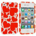 Apple iPhone 4 / 4S Hearts with Shapes Design Crystal Hard Case Cover Angle 2