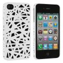Apple iPhone 4 / 4S White Birds Nest Hard Rubberized Back Cover Case Angle 2