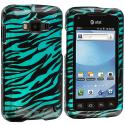 Samsung Rugby Smart i847 Black / Baby Blue Zebra Design Crystal Hard Case Cover Angle 1