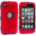 Apple iPod Touch 4th Generation Red Deluxe Hybrid Deluxe Hard/Soft Case Cover Angle 1
