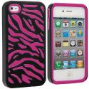 Apple iPhone 4 / 4S Hot Pink / Black Hybrid Zebra Hard/Soft Case Cover Angle 1