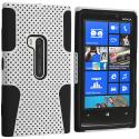 Nokia Lumia 920 Black / White Hybrid Mesh Hard/Soft Case Cover Angle 1