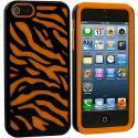 Apple iPhone 5/5S/SE Orange / Black Hybrid Zebra Hard/Soft Case Cover Angle 1