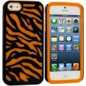 Apple iPhone 5/5S/SE Orange / Black Hybrid Zebra Hard/Soft Case Cover Angle 2