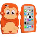 Apple iPhone 5C Orange Monkey Silicone Design Soft Skin Case Cover Angle 1