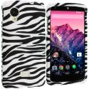 LG Google Nexus 5 Black / White Zebra Hard Rubberized Design Case Cover Angle 1