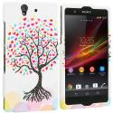 Sony Xperia Z Love Tree on White Hard Rubberized Design Case Cover Angle 1