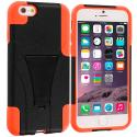 Apple iPhone 6 6S (4.7) Black / Orange Hybrid Hard/Silicone Case Cover with Stand Angle 2