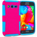 Samsung Galaxy Avant G386 Baby Blue / Hot Pink Hybrid Mesh Hard/Soft Case Cover Angle 1
