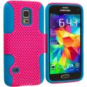 Samsung Galaxy S5 Mini G800 Baby Blue / Hot Pink Hybrid Mesh Hard/Soft Case Cover Angle 1