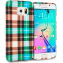 Samsung Galaxy S6 Edge Blue Checkered TPU Design Soft Rubber Case Cover Angle 1