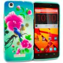 ZTE Boost Max Max Plus + N9521 Blue Bird Pink Flower TPU Design Soft Rubber Case Cover Angle 1