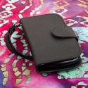 ZTE Aspect - Black MPERO FLEX FLIP Wallet Case Cover Angle 2