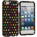 Apple iPod Touch 5th 6th Generation Colorful dots on Black Hard Rubberized Design Case Cover Angle 1