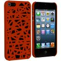 Apple iPhone 5/5S/SE Orange Birds Nest Hard Rubberized Back Cover Case Angle 2