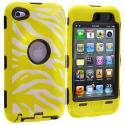 Apple iPod Touch 4th Generation Black / Yellow Zebra Hybrid Deluxe Hard/Soft Case Cover Angle 1