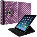 Apple iPad Air Purple White Polka Dot 360 Rotating Leather Pouch Case Cover Stand Angle 2