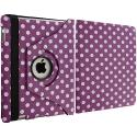 Apple iPad Air Purple White Polka Dot 360 Rotating Leather Pouch Case Cover Stand Angle 3